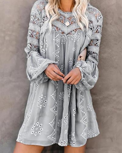 Pure color round neck long sleeve casual holiday dress