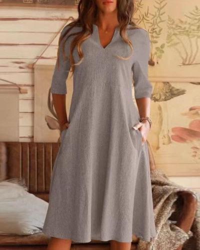 Solid Half Sleeve VNeck Pocket Linen Midi Dresses