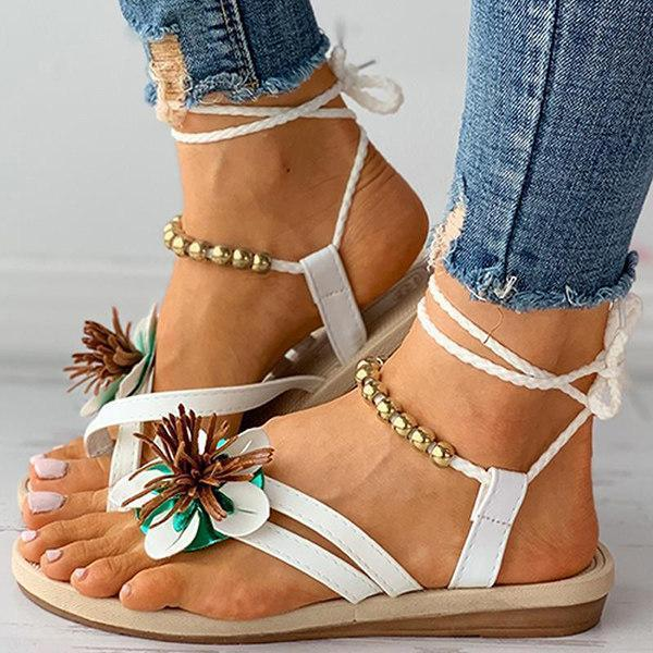 Women's Bohemian Floral Flat Sandals