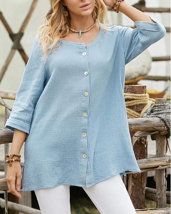 Front Opened Casual Blouse