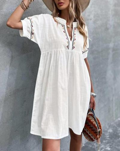 Floral Embroidery Loose Short Sleeve Dress