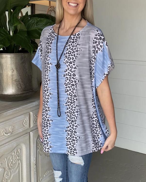 Women's Leopard Striped T-shirt Tops