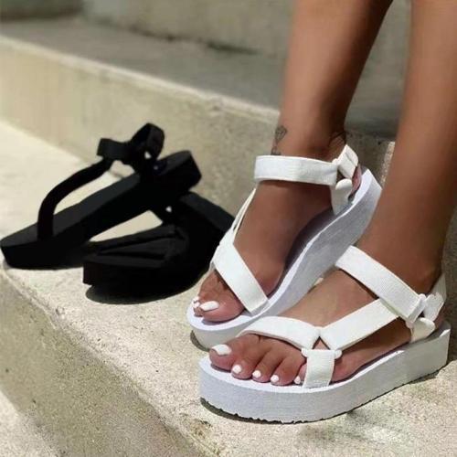 Women Casual Fashion Pu Pure Color Magic Tape Platform Sandals