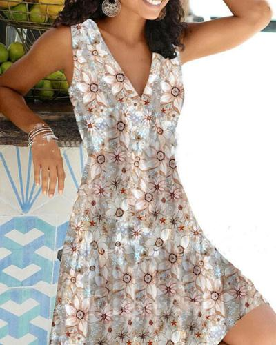 Multiflora V Neck Sleeveless Vacation Midi Dress