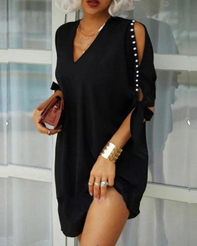 Fashion Daily Cold Shoulder V Neck Lace up Sleeve Mini Dresses