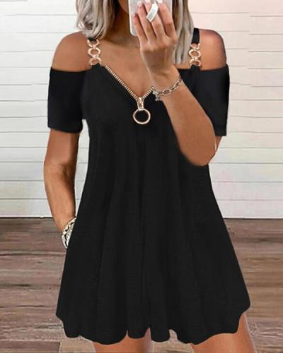 Solid Shift Above Knee The Little Black / Casual Tunic Dresses