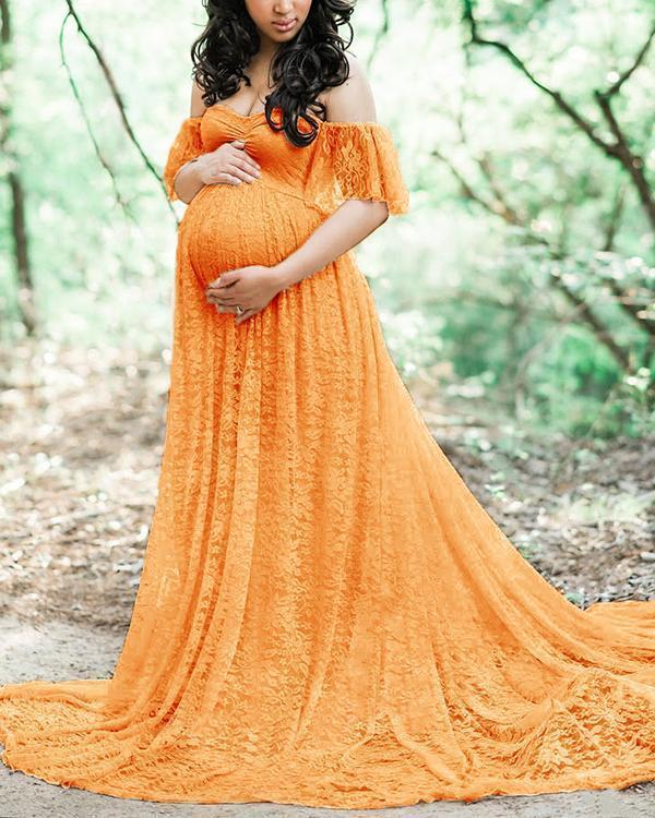 Maternity Off Shoulder Lace Maxi Dress