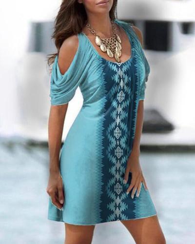 Round Collar Off-shoulder Sexy Ethnic Dress