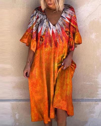 Beach Bohemian Print Big Dress