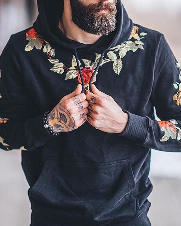Fashion Mens Floral Embroidery Sweatshirts Hoodie