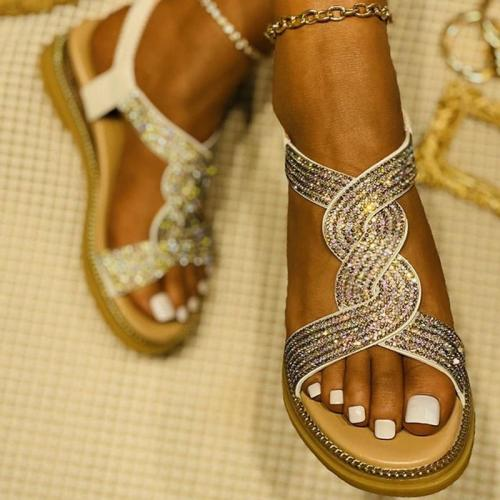 Women Elegant Fashion Pu Cross-strap Elastic Band Wedge Heel Sandals