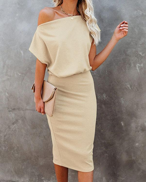 Oblique Shoulder Pure Color Elegant Commuting Bodycon Dress