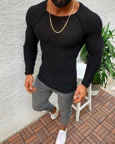 Solid Color Slim Round Neck Long Sleeve T-shirt