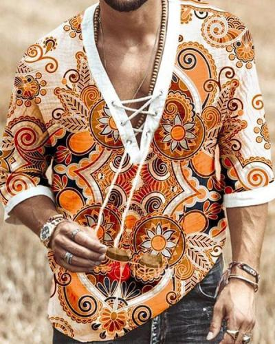 Men's Print T-shirt With Sleeves