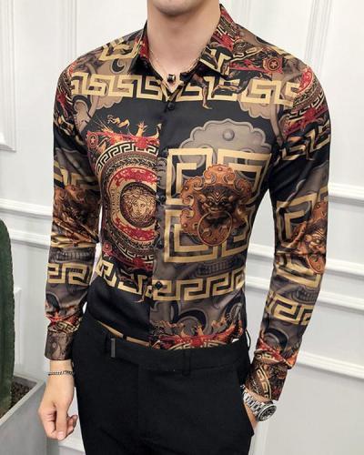 Men's Floral Printed Long Sleeve Shirt