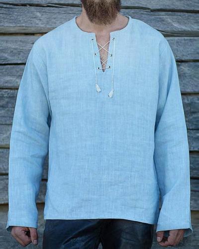 Solid Color V-neck Long-sleeved T-Shirt