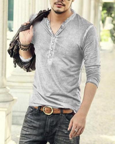 Retro V-neck Casual Long-sleeved T-shirt