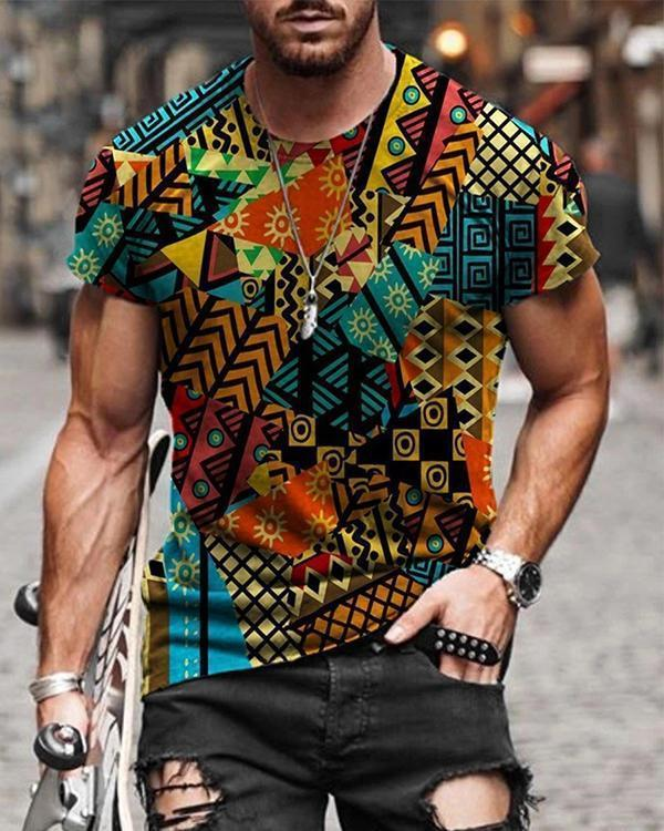 Men's Geometry Pattern Patchwork Print T-shirt
