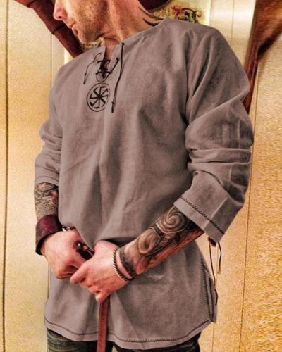Printed Casual Men's Long Sleeve Tops