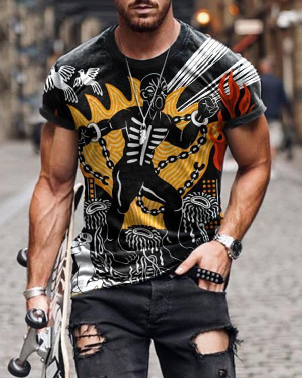 Men's Graffiti Print Short Sleeve T-shirt
