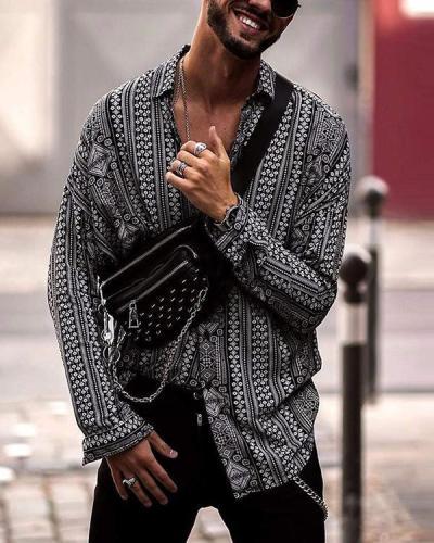 Men's Printed Long Sleeve Casual Shirt