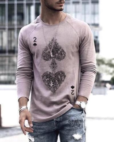 Mens Fashion Art Spades Poker Print Long Sleeve T-shirt