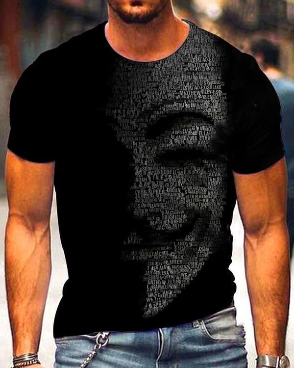 Men's Art Print Crew Neck Black T-shirt