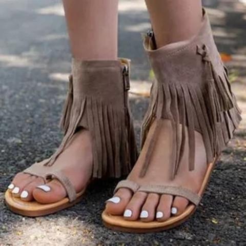 Women's Tassel Flats Nubuck Flat Heel Sandals