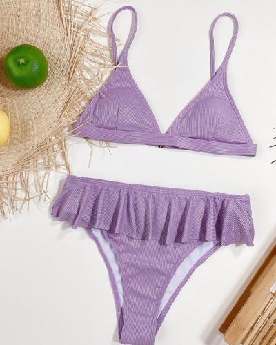 Women's Purple Bikini With Ruffled Swimsuit