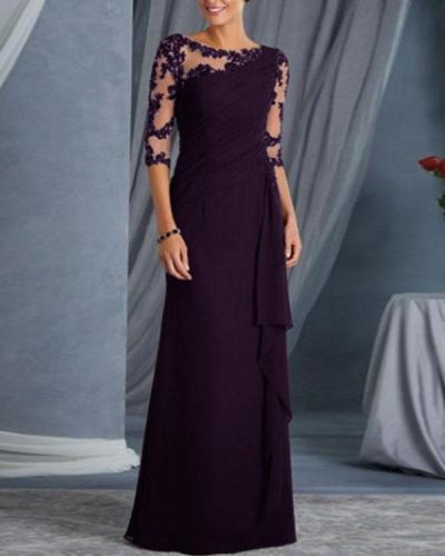 Elegant Party Dress Lace Transparent Irregular Dress
