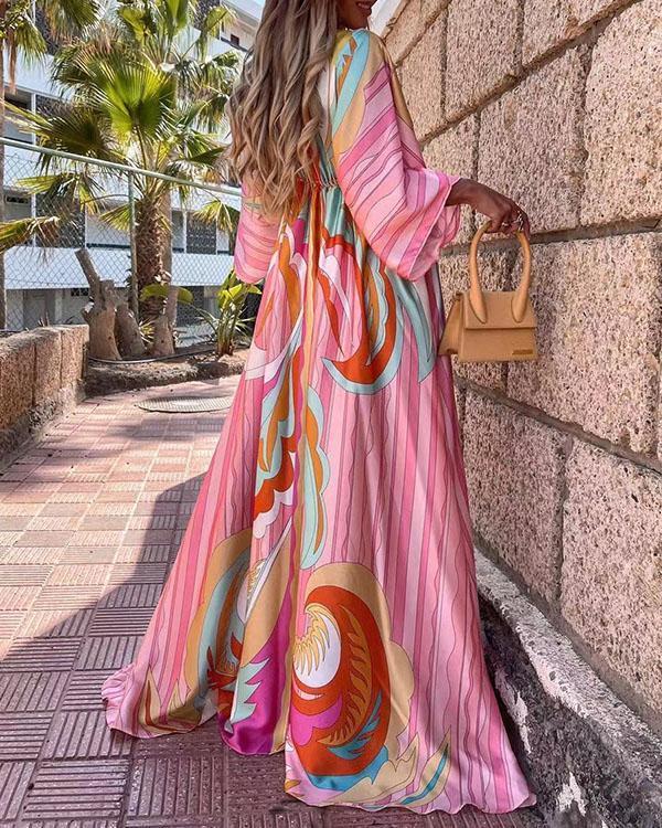 Bohemian 3/4 Sleeve Button V Neck Big Hem Floor Length Dress