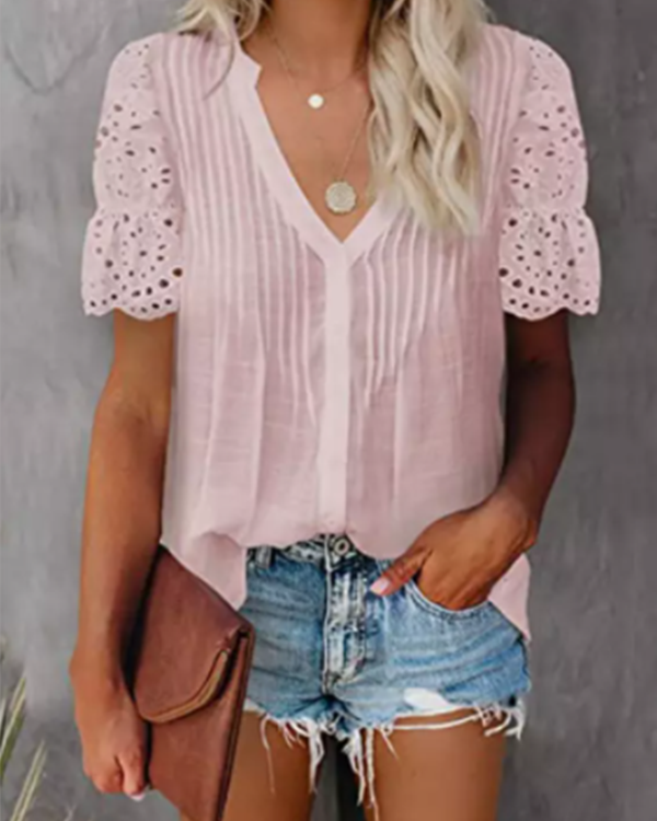 Solid V Neck Lace Crochet Eyelet Casual Shirts