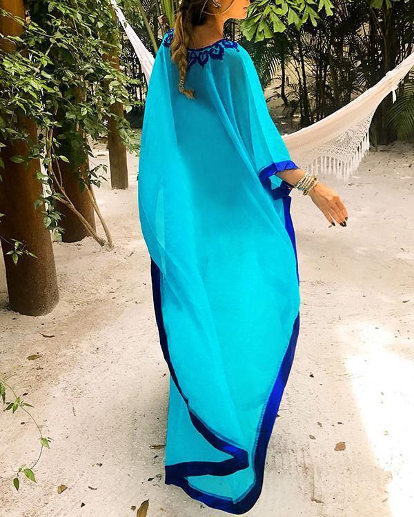 Embroidery Chiffon Beach Maxi Dress