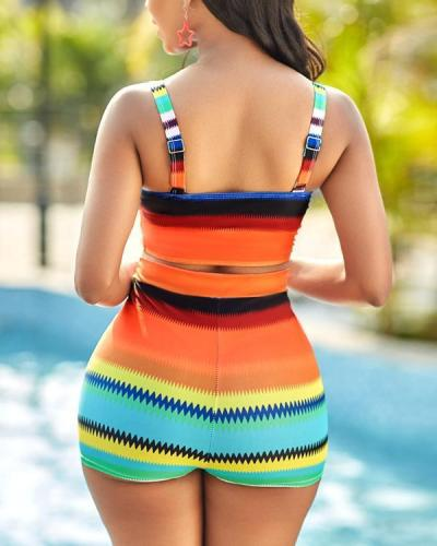 Colorful Striped Spaghetti Strap Bikini Set