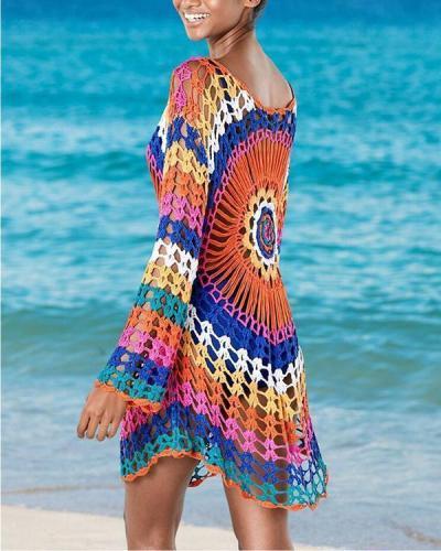 Handmade Crocheted Rainbow Long-sleeved Hollow Bikini Outer Smock