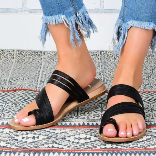 Women Casual Daily Outdoor Pu Toe Loop Flat Sandals Slippers