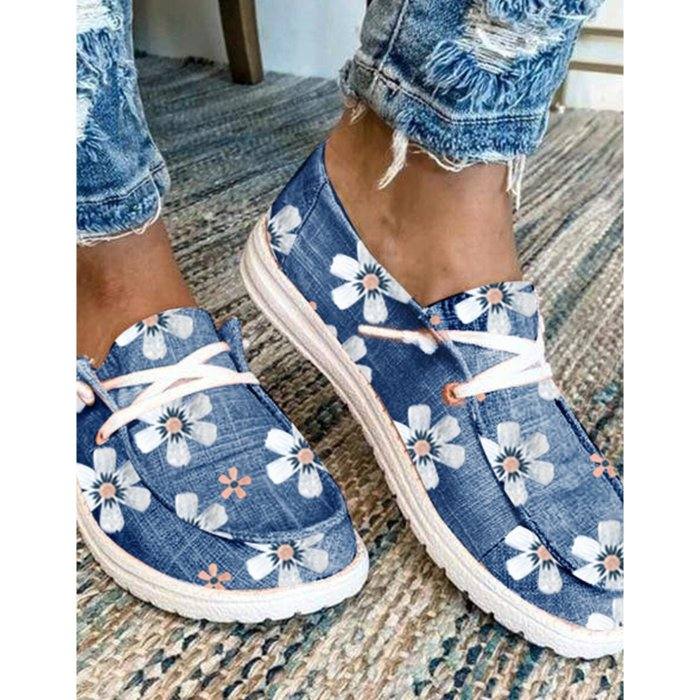 Women's Sneakers Floral Print Lace-up Canvas Sneakers