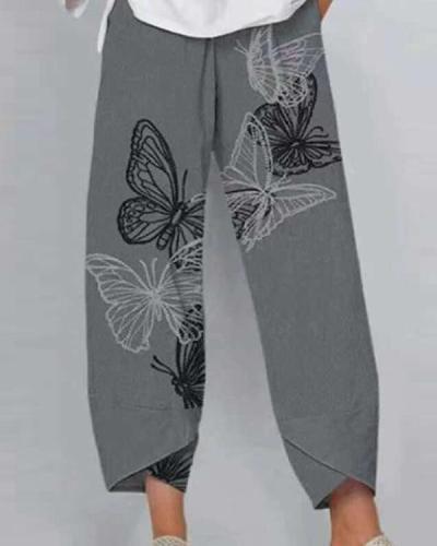 Casual Elastic Waist Wide Leg Pants