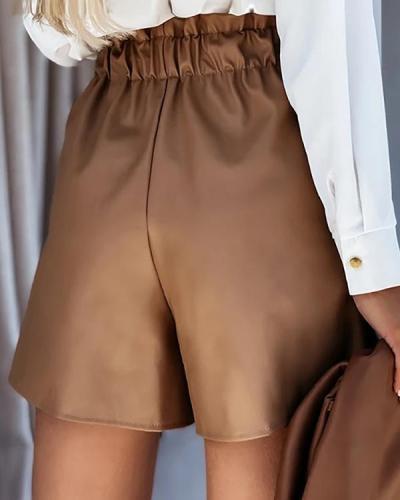 Pu A Linen Belted Shorts