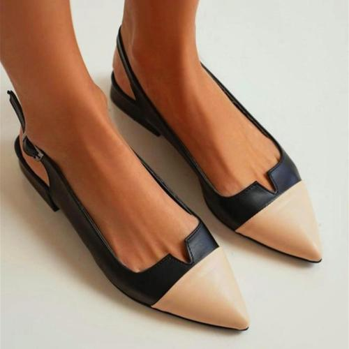 Pointed-toe Color Block Shallow Mouth Flat Sandals