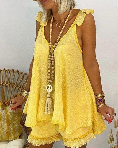 Plus Size Cotton Linen Sleeveless Tassel Shorts Set