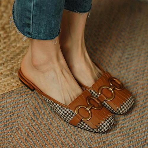 Patchwork Sqaure-toe Flat Mule Slip-on Shoes