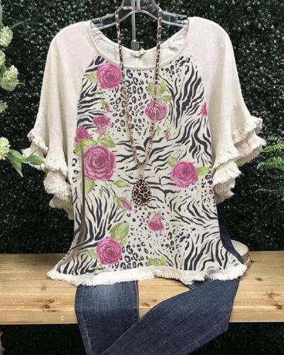 Floral-Print Cotton-Blend Short Sleeve Casual Shirts & Tops