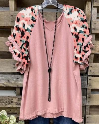 Cotton-Blend Flower-Print Casual Short Sleeve Shirts & Tops