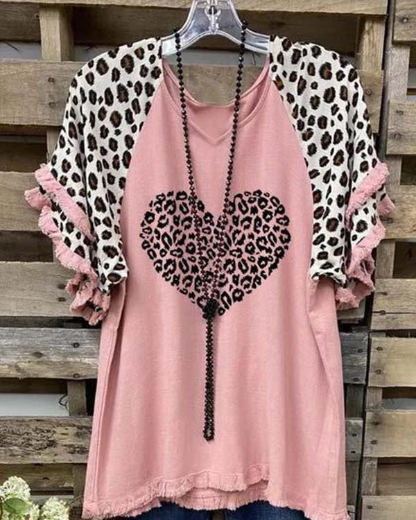 Cotton-Blend Leopard-Print Casual Short Sleeve Shirts & Tops