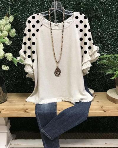 Polka Dots Casual Cotton-Blend Short Sleeve Shirts & Tops