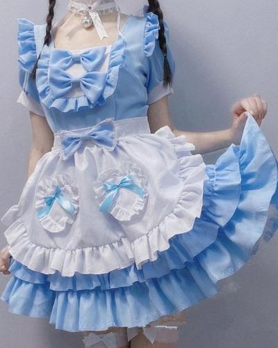 Blue Sweet Lolita Dress Short Sleeve Kawaii Maid Dress with Bows