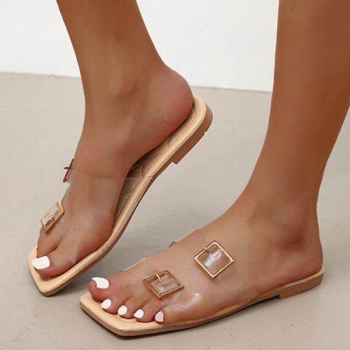 Women's Fashion See-through Flat Beach Slippers