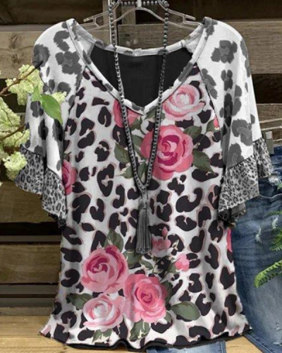 Cotton-Blend Short Sleeve Floral-Print Shirts & Tops
