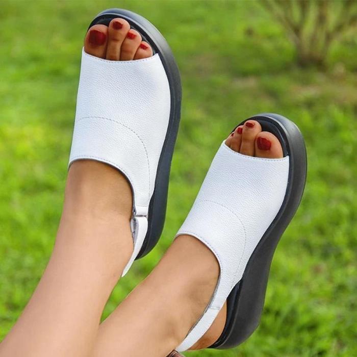Women Casual Simple Pu Peep Toe Magic Tape Platform Sandals